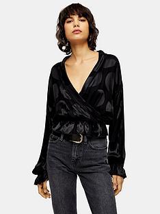 topshop-oversized-spot-blouse-black