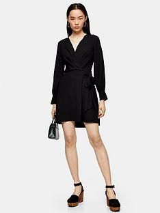 topshop-twist-front-mini-dress-black