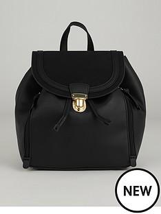 warehouse-zip-detail-backpack-black