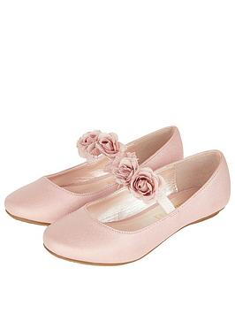 Monsoon Monsoon Dora Corsage Strap Ballerina Shoes - Pale Pink Picture