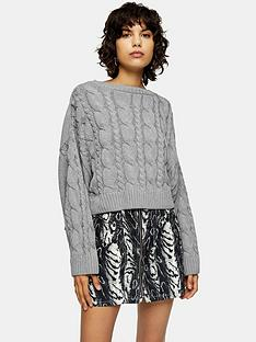 topshop-super-crop-cable-knit-jumper-grey