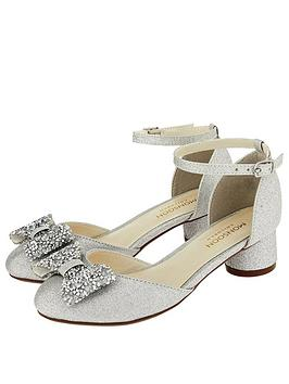 Monsoon Monsoon Piper Dazzle Bow 2 Part Jazz Heel Shoes - Silver Picture