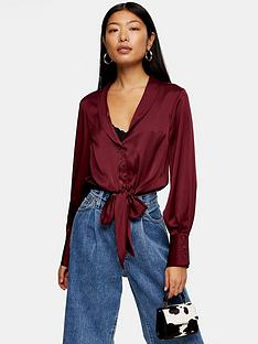 topshop-tall-satin-knot-front-shirt-burgundy