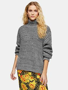 topshop-directional-roll-neck-jumper-grey