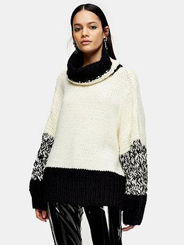 topshop-knitted-roll-neck-jumper-monochrome