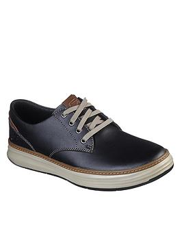 Skechers Skechers Moreno Gustom Leather Trainers - Black Picture