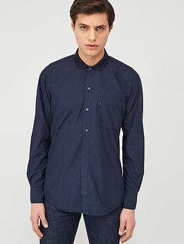 Boss Boss Roald Long Sleeve Shirt With Jersey Collar - Navy Picture