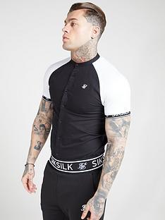 sik-silk-short-sleeved-oxford-raglan-shirt-blackwhite