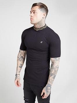 sik-silk-short-sleeve-chain-ribbed-collar-polo-shirt-black