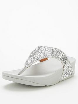 FitFlop Fitflop Lulu Toe Post Glitter Flat Sandal - Silver Picture