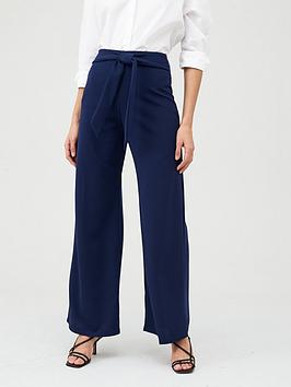 V by Very V By Very Jersey Crepe Wide Leg Trousers - Navy Picture