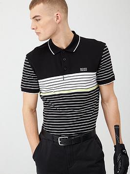 Boss Boss Paddy 7 Stripe Polo Shirt - Black/White Picture