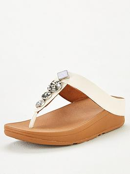 FitFlop Fitflop Fino Textured Circles Toe Post Sandal - White Picture