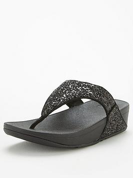 FitFlop Fitflop Lulu Toe Post Glitter Flat Sandal - Black Glitter Picture