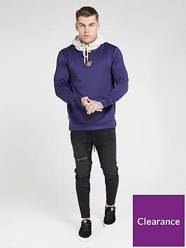 sik-silk-overhead-side-zip-hybrid-hoodie-navy
