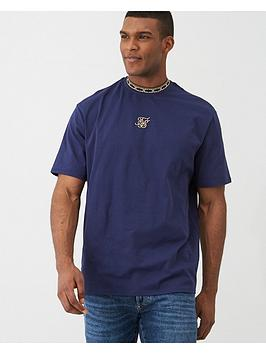 Sik Silk Sik Silk Short Sleeve Tape Collar Essentials T-Shirt - Navy Picture