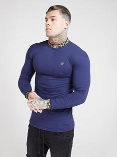 sik-silk-long-sleeve-chain-rib-collar-cuff-polo-shirt-navy