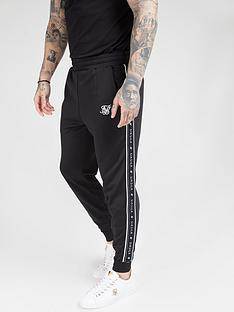 sik-silk-fitted-panel-tape-track-pants-black