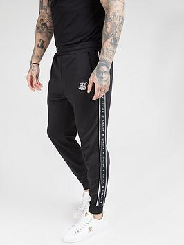 Sik Silk Fitted Panel Tape Track Pants - Black