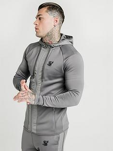 sik-silk-creased-nylon-zip-through-hoodie-grey