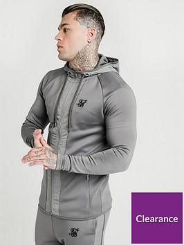 sik-silk-creased-nylon-zip-through-hoodie-grey