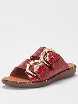 fitflop-kaia-bamboo-buckle-flat-sandal-red