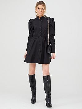 V by Very V By Very Cotton Poplin Tiered Shirt Dress - Black Picture