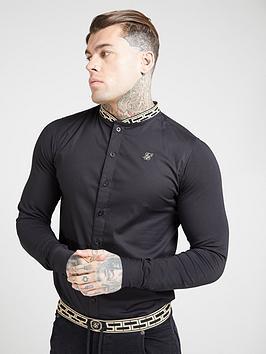 sik-silk-long-sleeve-tape-collar-shirt-black