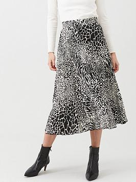 Warehouse Warehouse Mono Animal Pleated Midi Skirt - Black Picture
