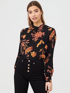 warehouse-wall-flower-high-neck-top-orange