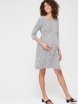Mama-licious Mama-Licious Maternity Alica Spot Woven Dress - White Black Picture