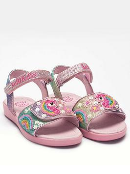Lelli Kelly Lelli Kelly Girls Unicorn Rainbow Glitter Sandal - Pink Multi Picture