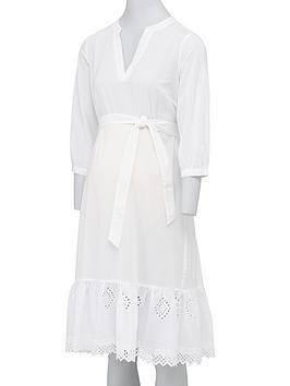 Mama-licious Mama-Licious Maternity Grazie Midi Dress With Tie Belt - White Picture