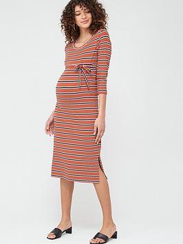 Mama-licious Mama-Licious Maternity Naya Stripe Jersey Dress With Tie Belt  ... Picture