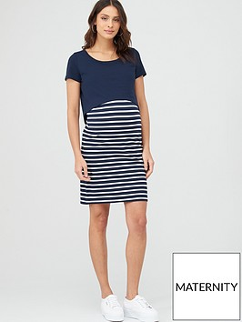 mama-licious-nursing-lea-organic-dress-navy-stripe