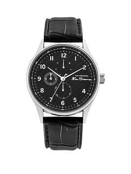 Ben Sherman Ben Sherman Black And Silver Detail Multi Dial Black Leather  ... Picture