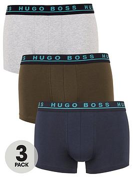 Boss   Bodywear 3 Pack Boxer Trunks With Contrast Waistbands - Navy/Grey/Charcoal