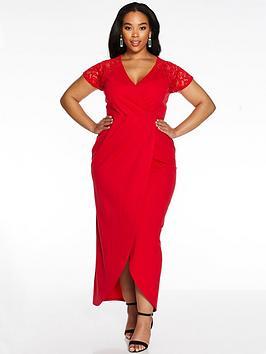 Quiz Curve Quiz Curve Cap Sleeve Lace Wrap Dress - Red Picture