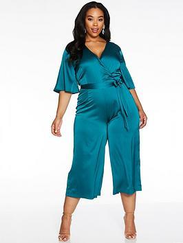 quiz-curve-wrap-front-satin-tie-waist-culotte-jumpsuit-teal