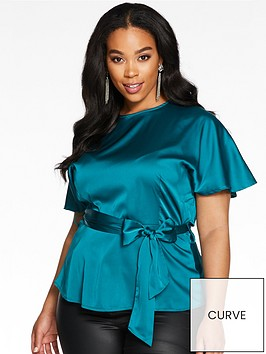 quiz-curve-angel-sleeve-tie-belt-peplum-satin-dressy-top-green