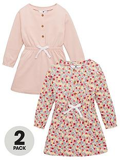 v-by-very-girls-2-pack-floral-button-up-dresses-pink