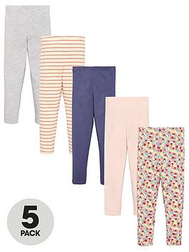 V by Very V By Very Girls 5 Pack Floral Leggings - Multi Picture