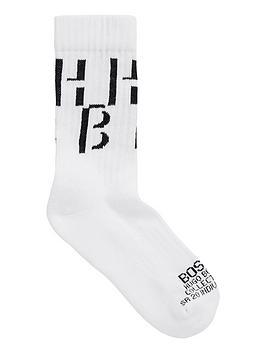 Boss   Bodywear Ribbed Logo Socks - White