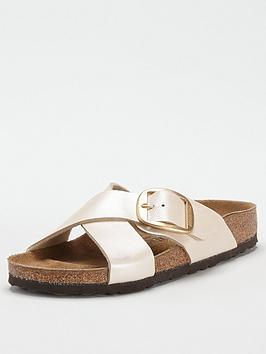 Birkenstock Birkenstock Sienna Big Buckle Pearl Flat Sandals - Pearl White Picture