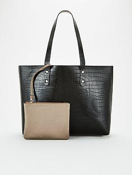 V by Very V By Very Jam Croc Shopper Bag - Black Picture