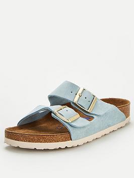 Birkenstock Birkenstock Arizona Suede Two Strap Flat Sandal - Light Blue Picture