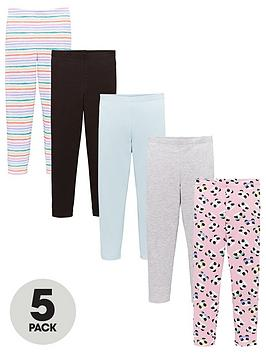 V by Very V By Very Girls 5 Pack Printed Leggings - Multi Picture