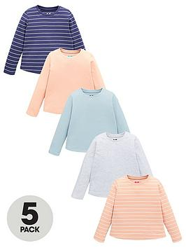 V by Very V By Very Girls 5 Pack Plain And Striped T-Shirts - Multi Picture