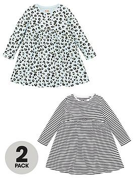 V by Very V By Very Girls 2 Pack Stripe And Animal Smock Dresses - Multi Picture