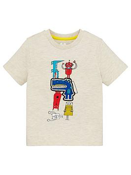 V by Very V By Very Boys Monster Placement Short Sleeve T-Shirt - White Picture
